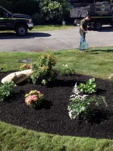 flower bed with dump truck