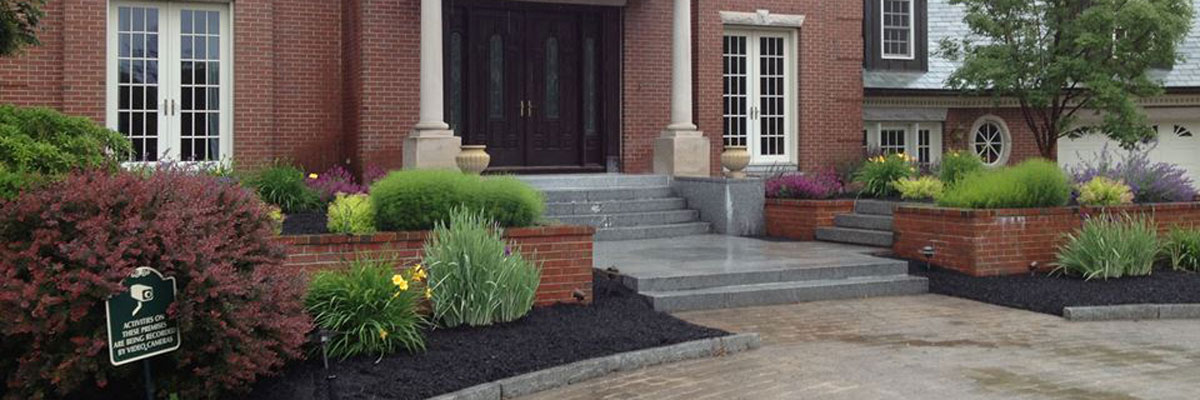 residential hardscape and plantings